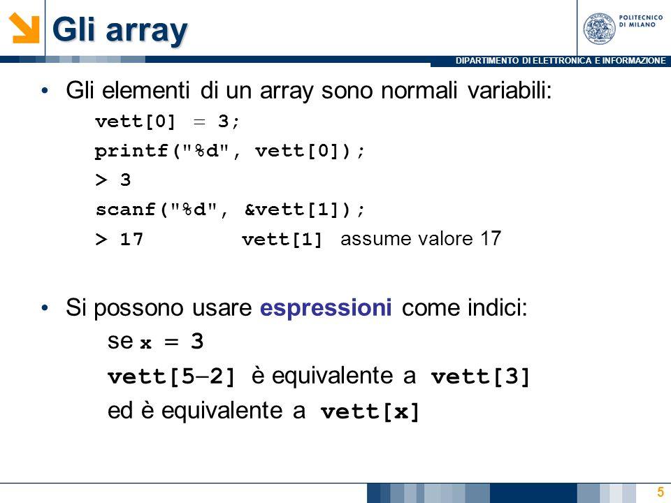 Gli array Gli elementi di un array sono normali variabili: