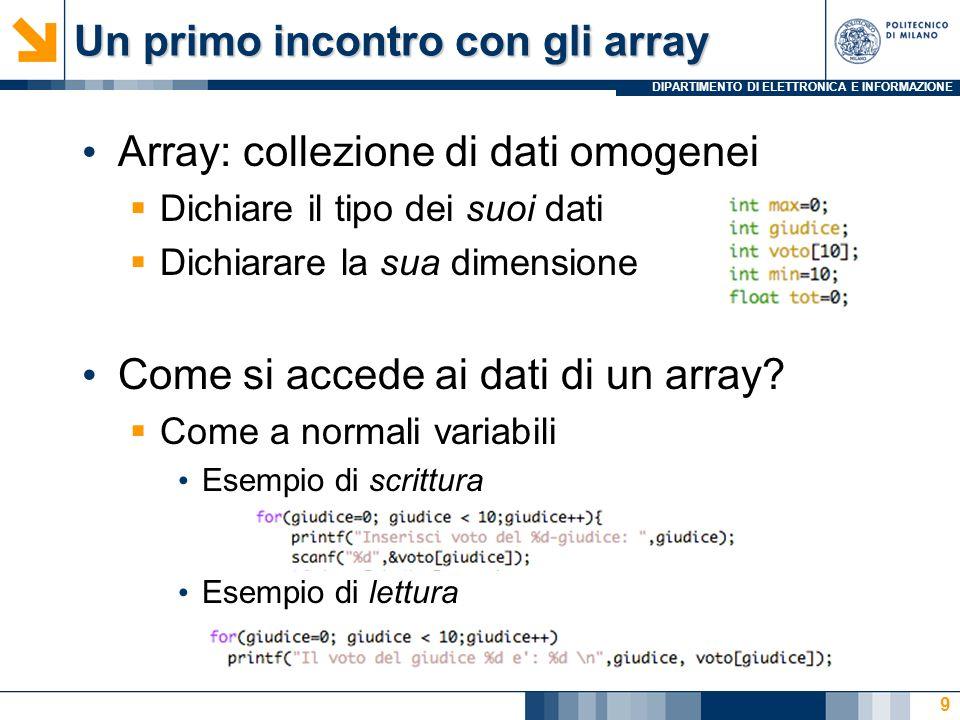 Un primo incontro con gli array