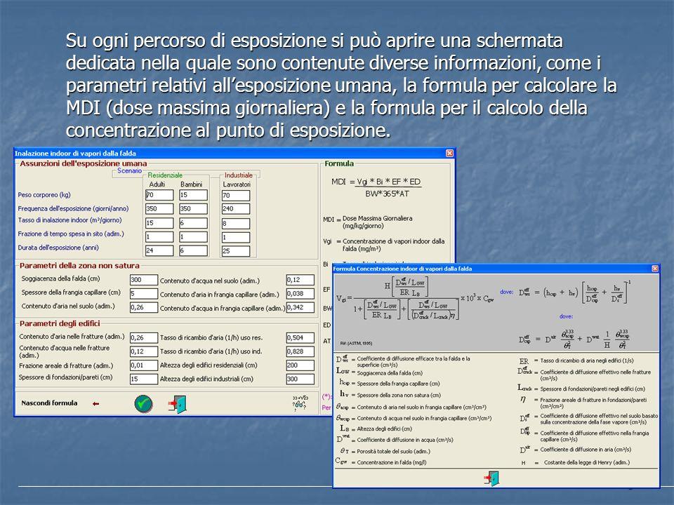 Su ogni percorso di esposizione si può aprire una schermata dedicata nella quale sono contenute diverse informazioni, come i parametri relativi all'esposizione umana, la formula per calcolare la MDI (dose massima giornaliera) e la formula per il calcolo della concentrazione al punto di esposizione.