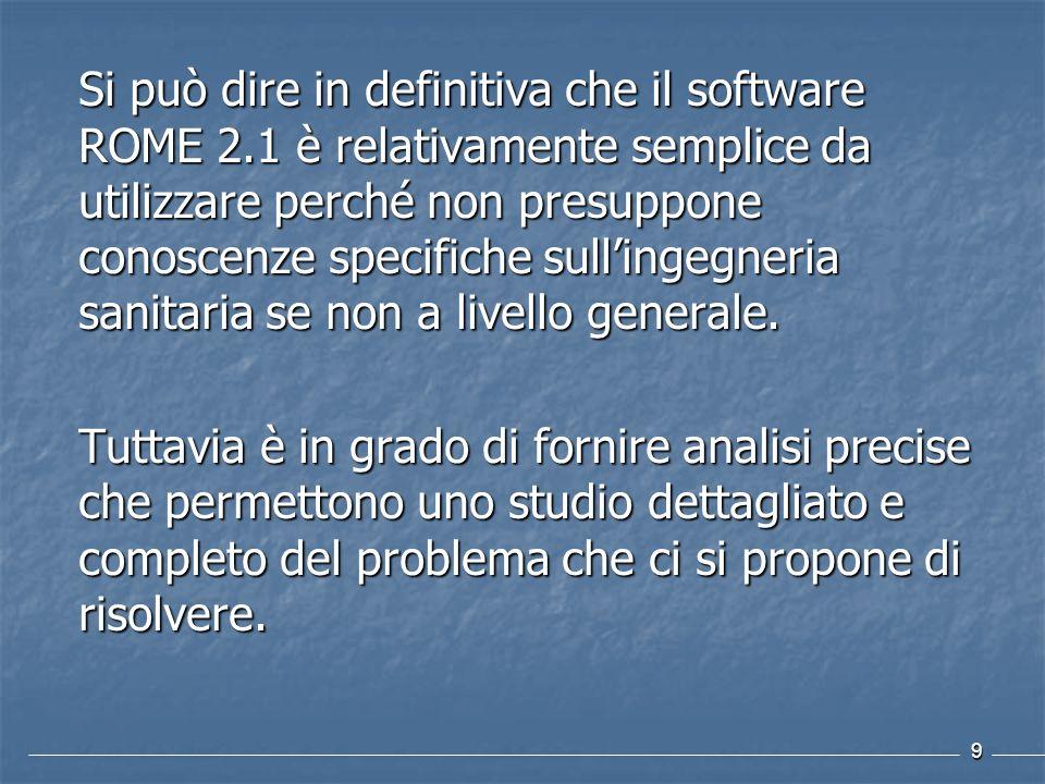 Si può dire in definitiva che il software ROME 2