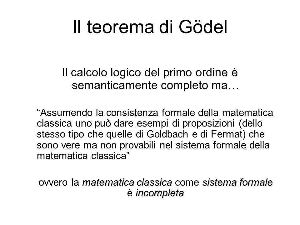 Il teorema di Gödel Il calcolo logico del primo ordine è semanticamente completo ma…