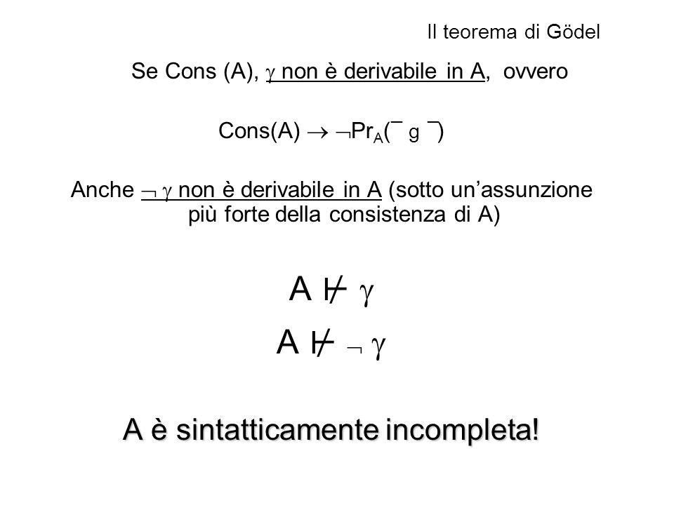 A ⊬  A ⊬   A è sintatticamente incompleta! Cons(A)  PrA(¯ g ¯)