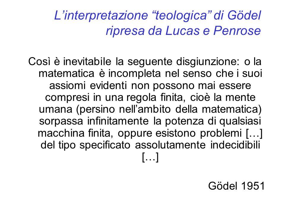 L'interpretazione teologica di Gödel ripresa da Lucas e Penrose