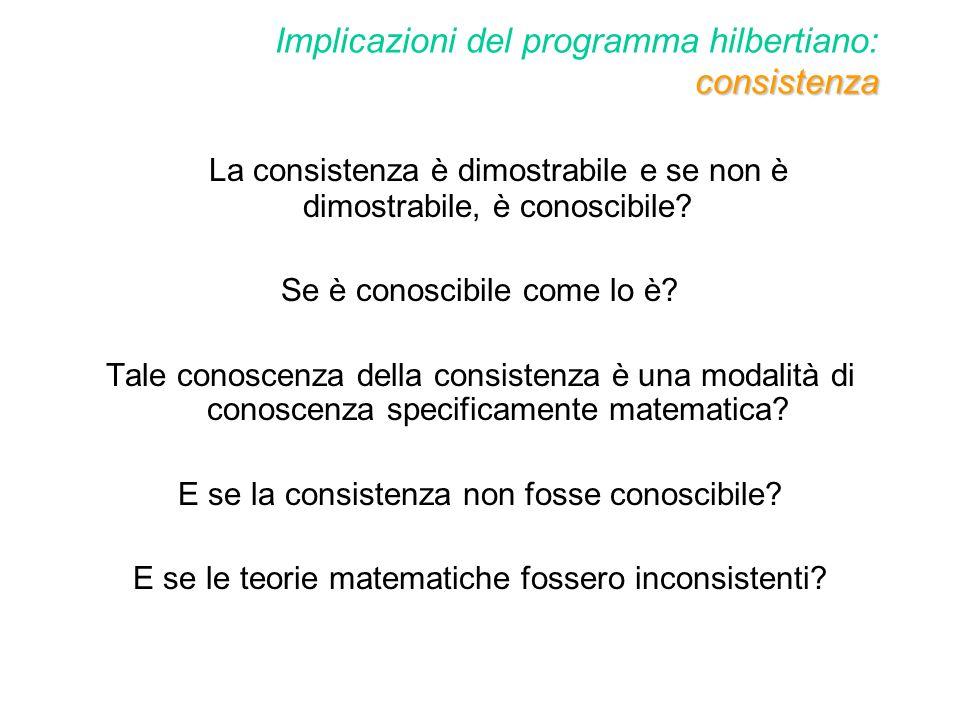 Implicazioni del programma hilbertiano: consistenza