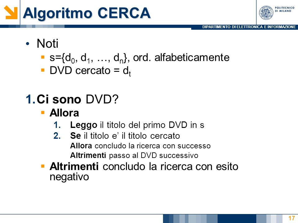 Algoritmo CERCA Noti Ci sono DVD
