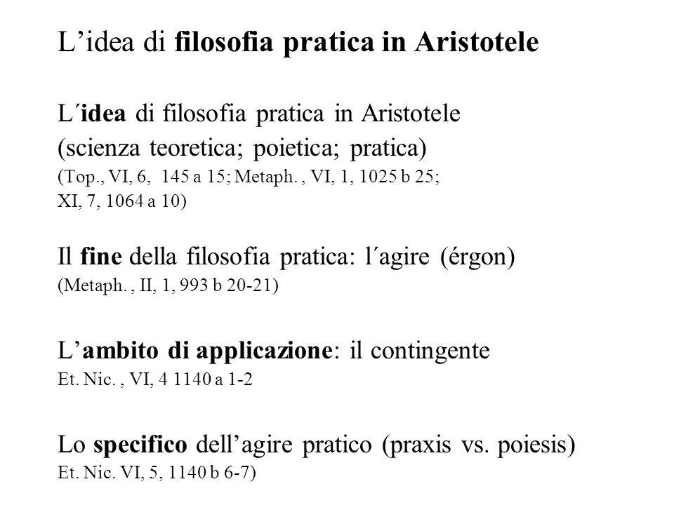 L'idea di filosofia pratica in Aristotele