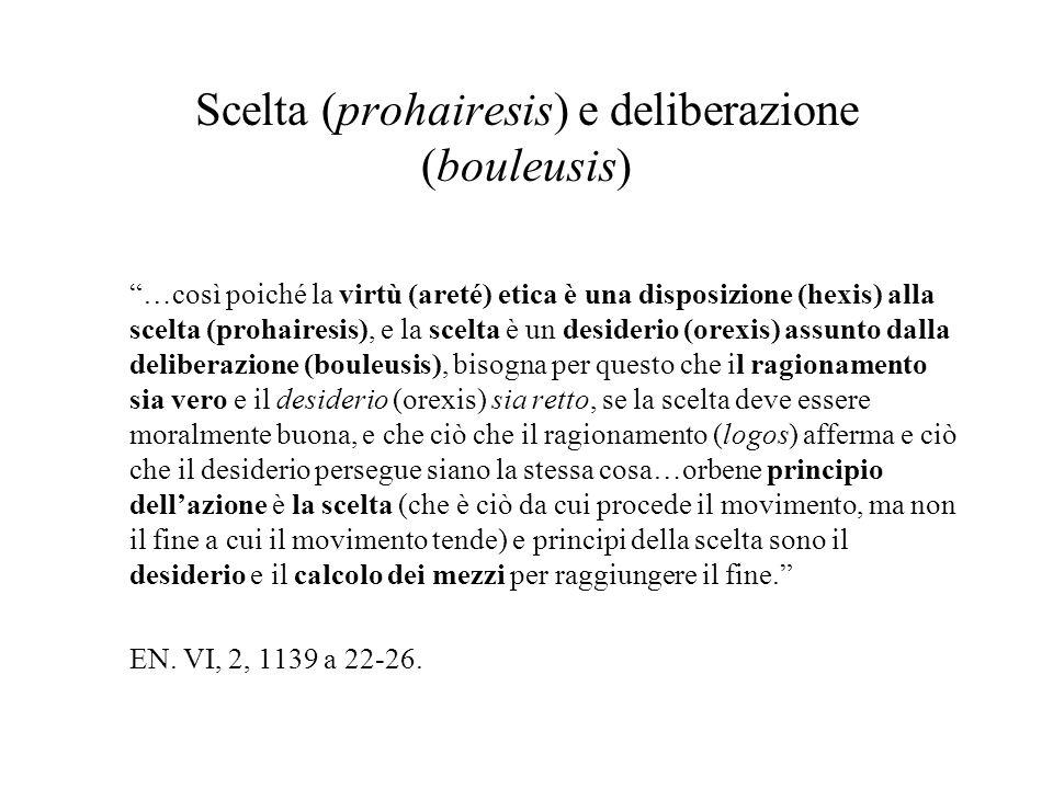 Scelta (prohairesis) e deliberazione (bouleusis)
