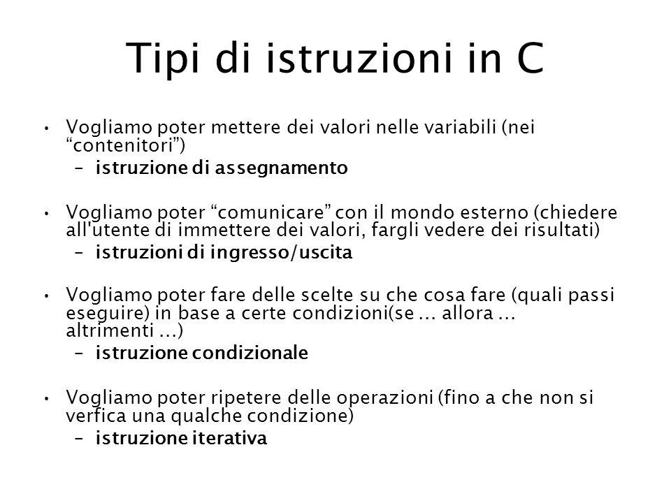 Tipi di istruzioni in C Vogliamo poter mettere dei valori nelle variabili (nei contenitori ) istruzione di assegnamento.