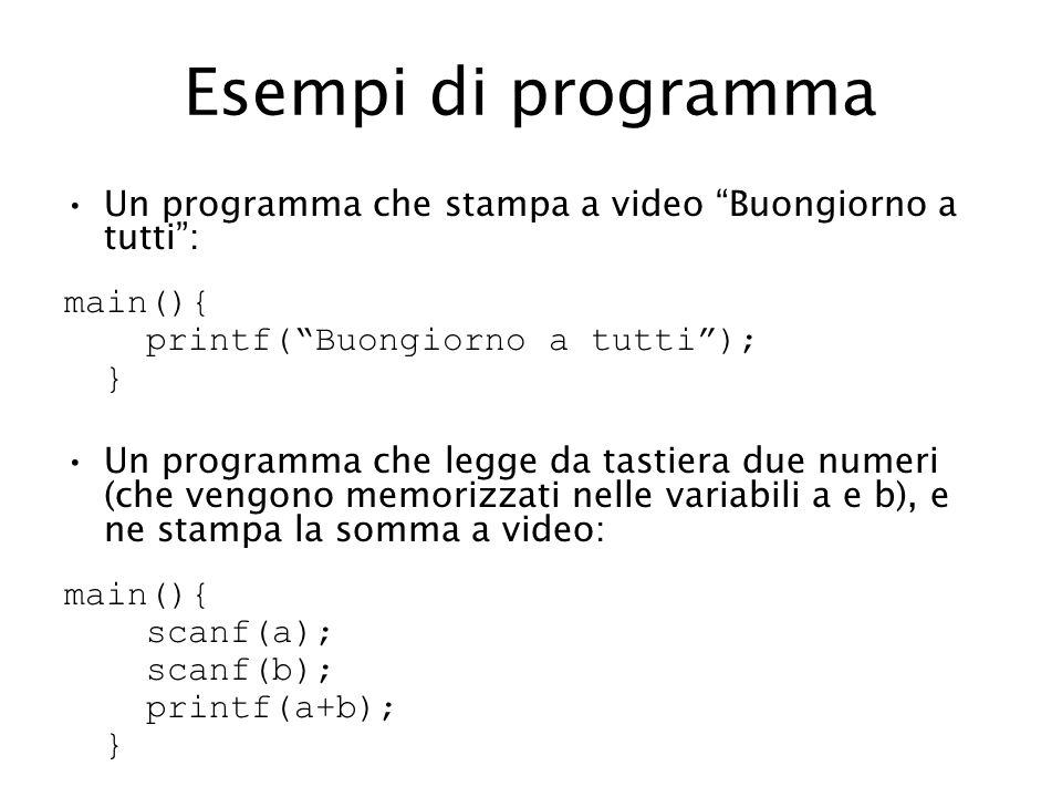 Esempi di programma Un programma che stampa a video Buongiorno a tutti : main(){ printf( Buongiorno a tutti ); }