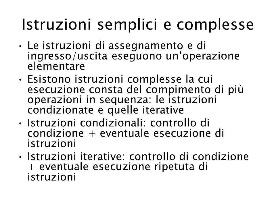 Istruzioni semplici e complesse