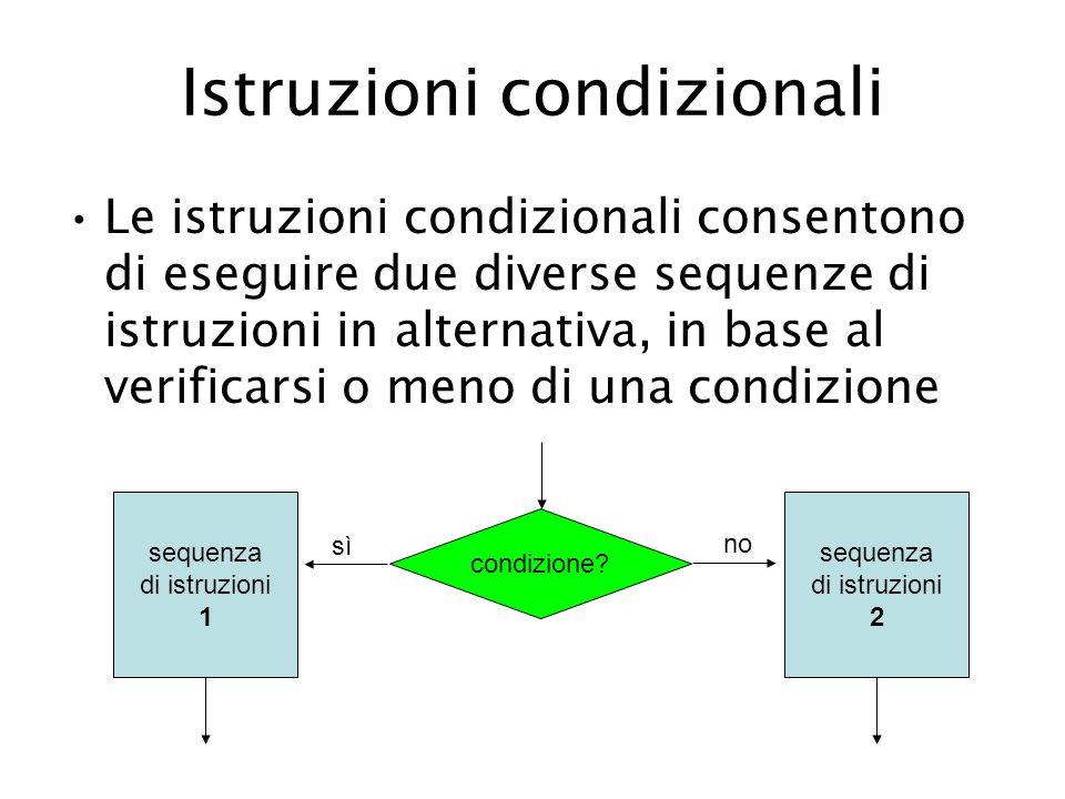 Istruzioni condizionali