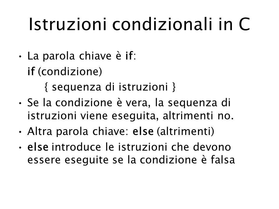Istruzioni condizionali in C