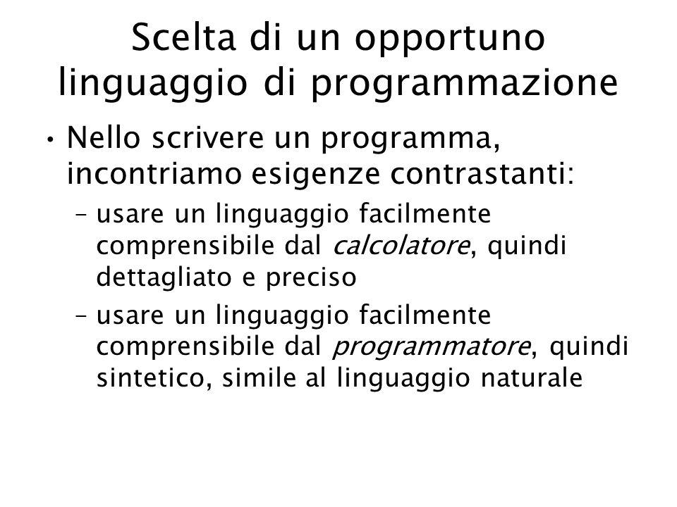 Scelta di un opportuno linguaggio di programmazione