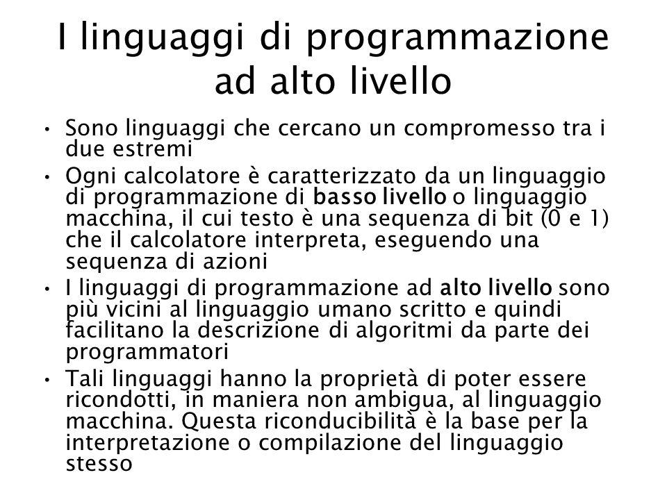 I linguaggi di programmazione ad alto livello