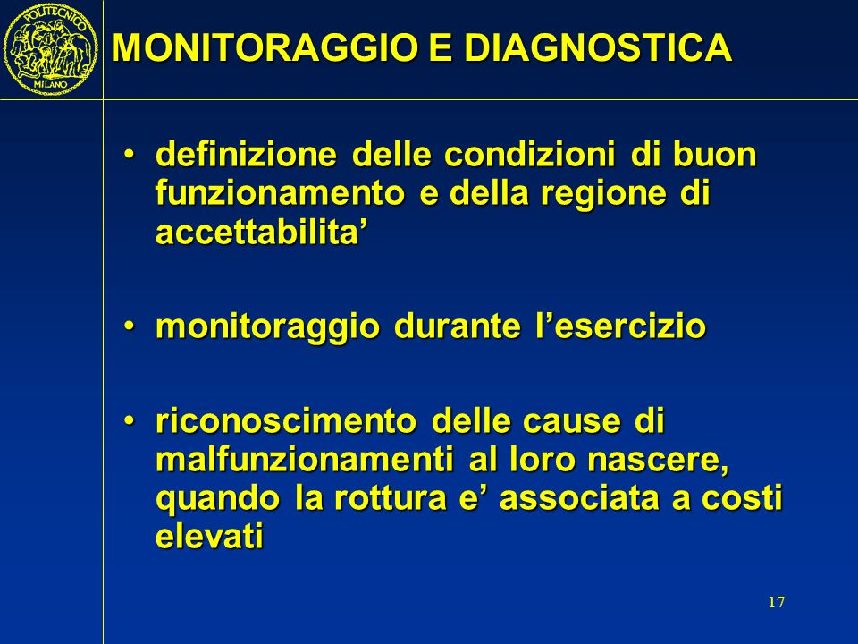 MONITORAGGIO E DIAGNOSTICA