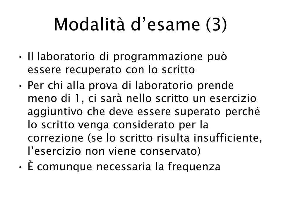 Modalità d'esame (3) Il laboratorio di programmazione può essere recuperato con lo scritto.
