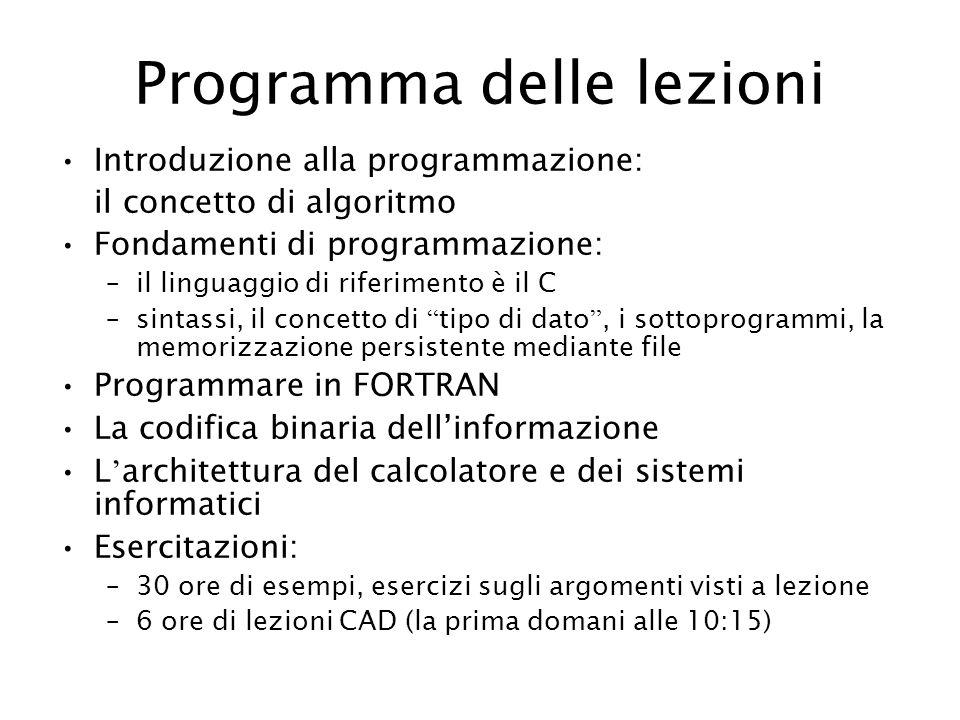 Programma delle lezioni