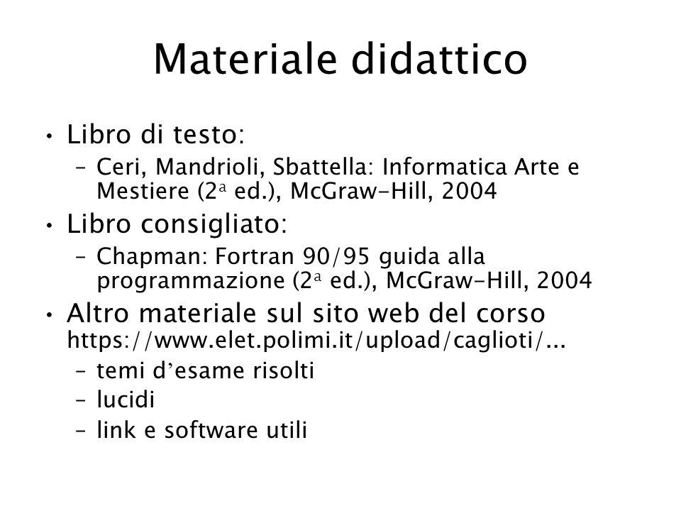 Materiale didattico Libro di testo: Libro consigliato:
