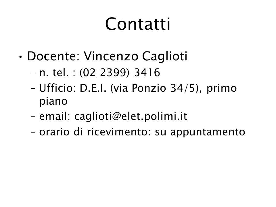 Contatti Docente: Vincenzo Caglioti n. tel. : (02 2399) 3416