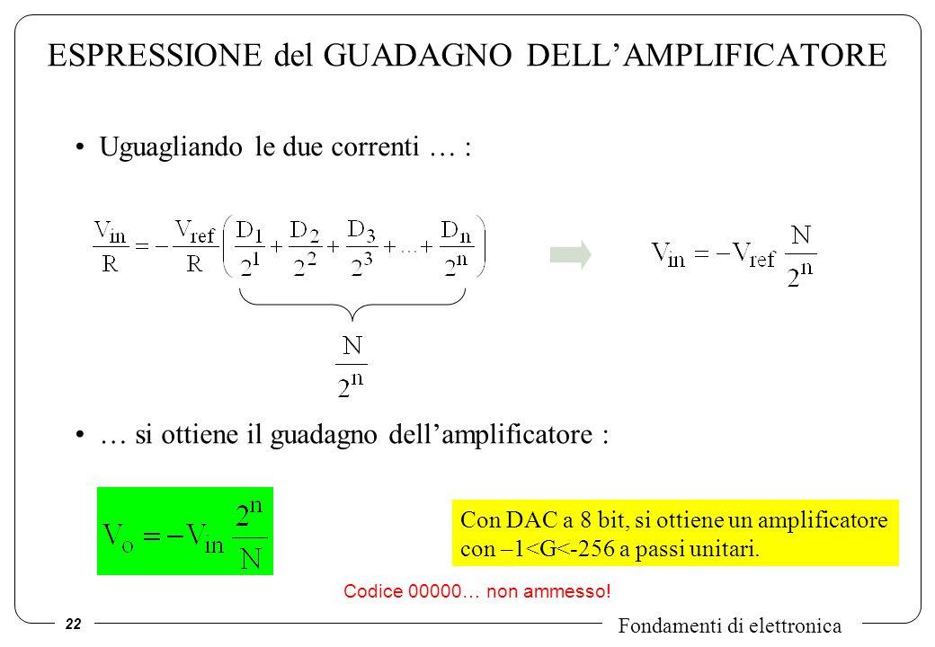 ESPRESSIONE del GUADAGNO DELL'AMPLIFICATORE