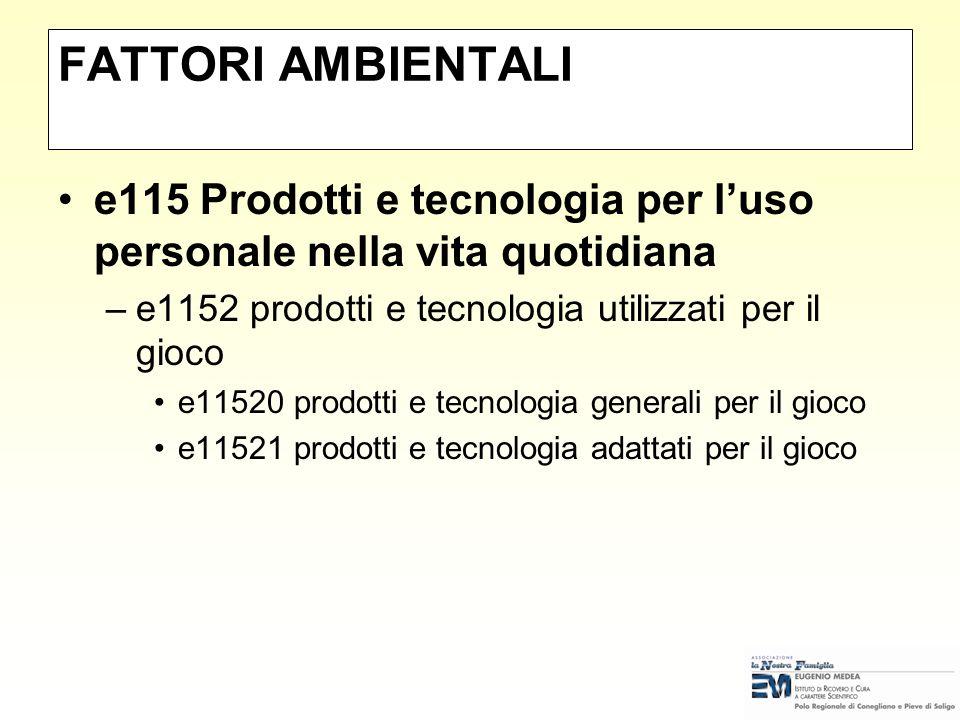 FATTORI AMBIENTALI e115 Prodotti e tecnologia per l'uso personale nella vita quotidiana. e1152 prodotti e tecnologia utilizzati per il gioco.