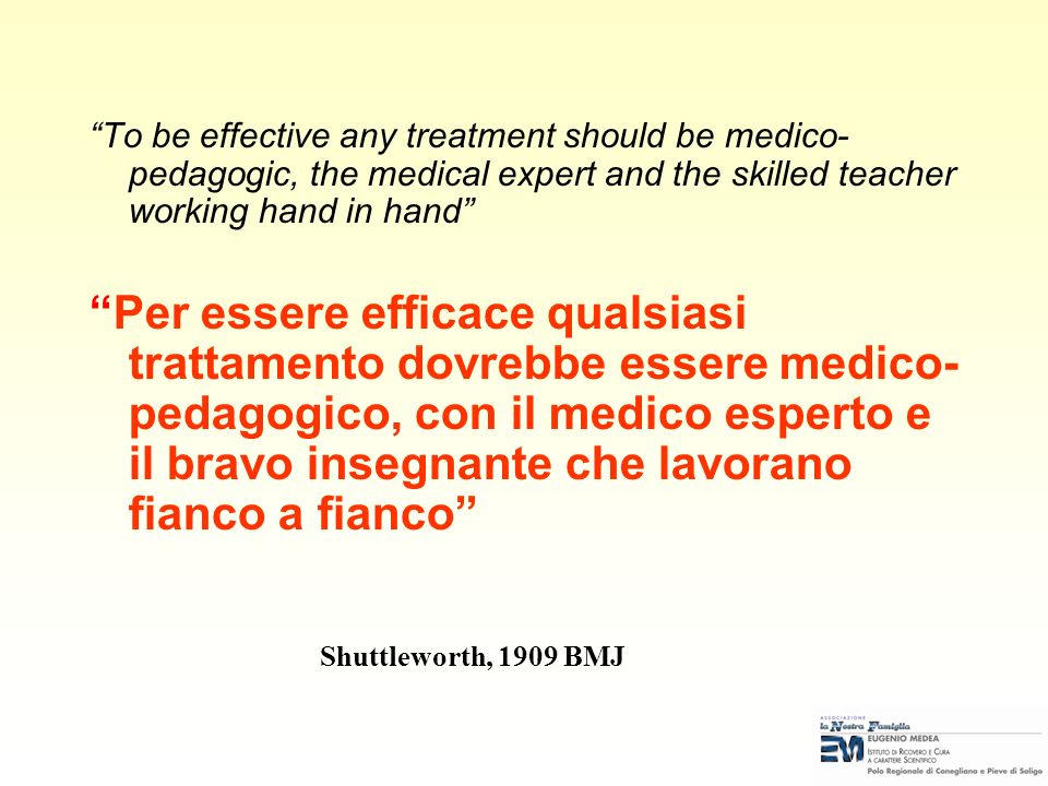 To be effective any treatment should be medico-pedagogic, the medical expert and the skilled teacher working hand in hand