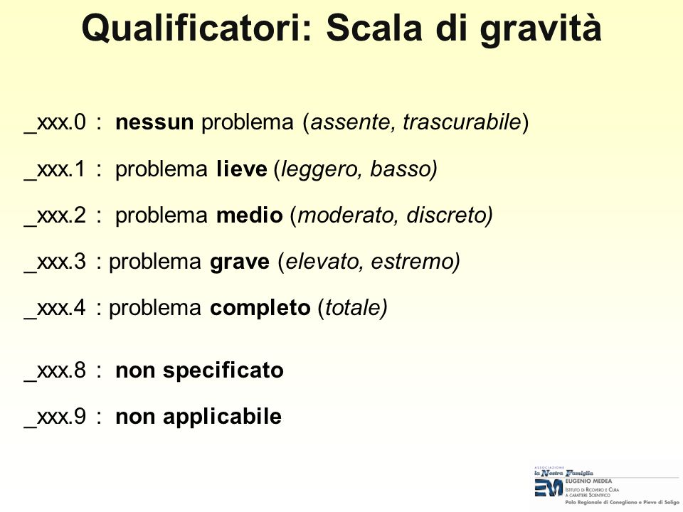 Qualificatori: Scala di gravità