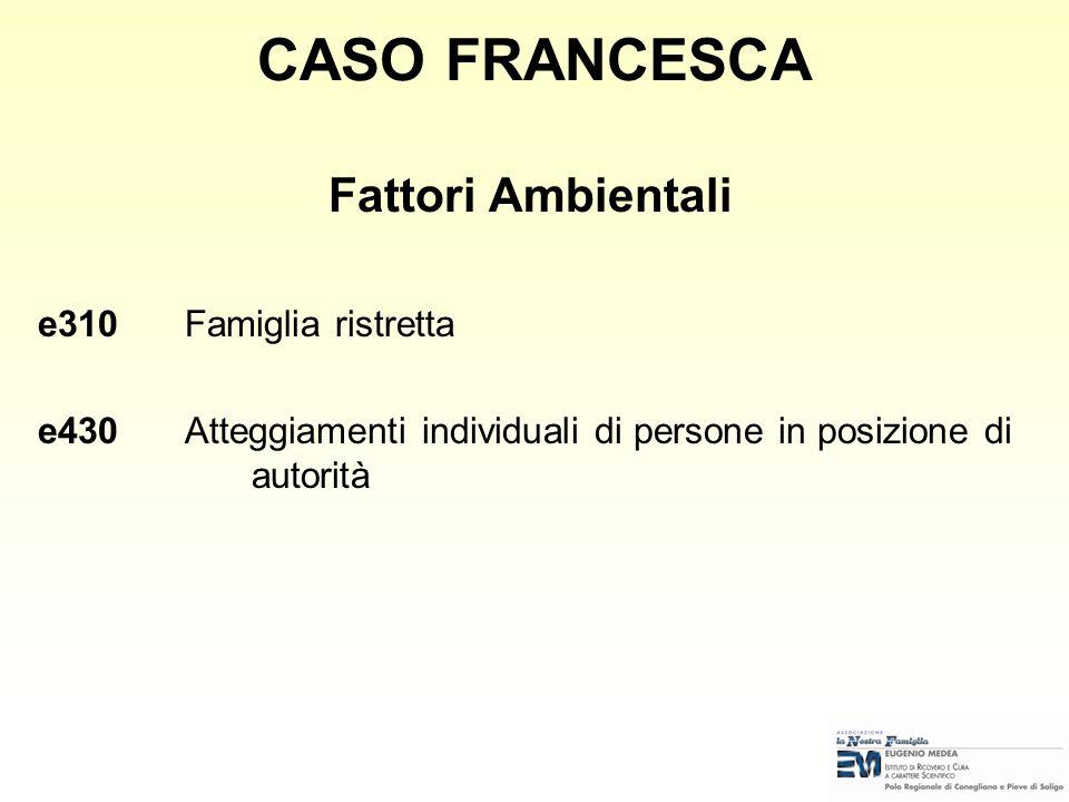 CASO FRANCESCA Fattori Ambientali e310 Famiglia ristretta
