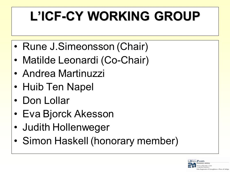L'ICF-CY WORKING GROUP