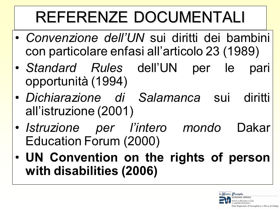 REFERENZE DOCUMENTALI