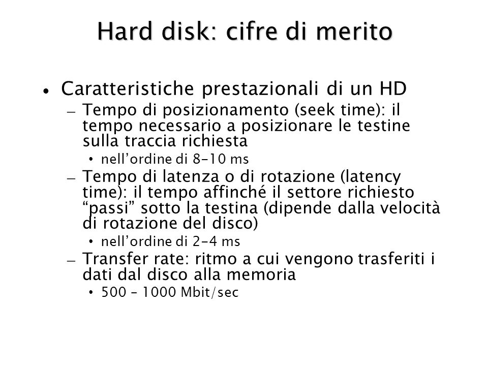 Hard disk: cifre di merito