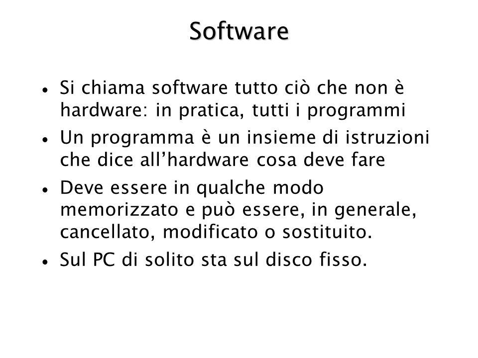 Software Si chiama software tutto ciò che non è hardware: in pratica, tutti i programmi.