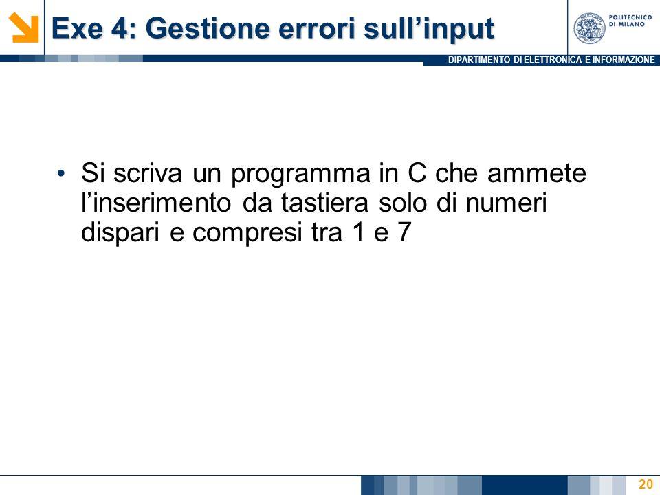 Exe 4: Gestione errori sull'input