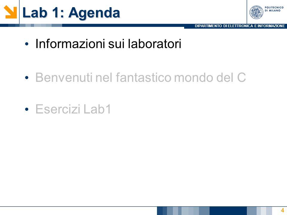 Lab 1: Agenda Informazioni sui laboratori