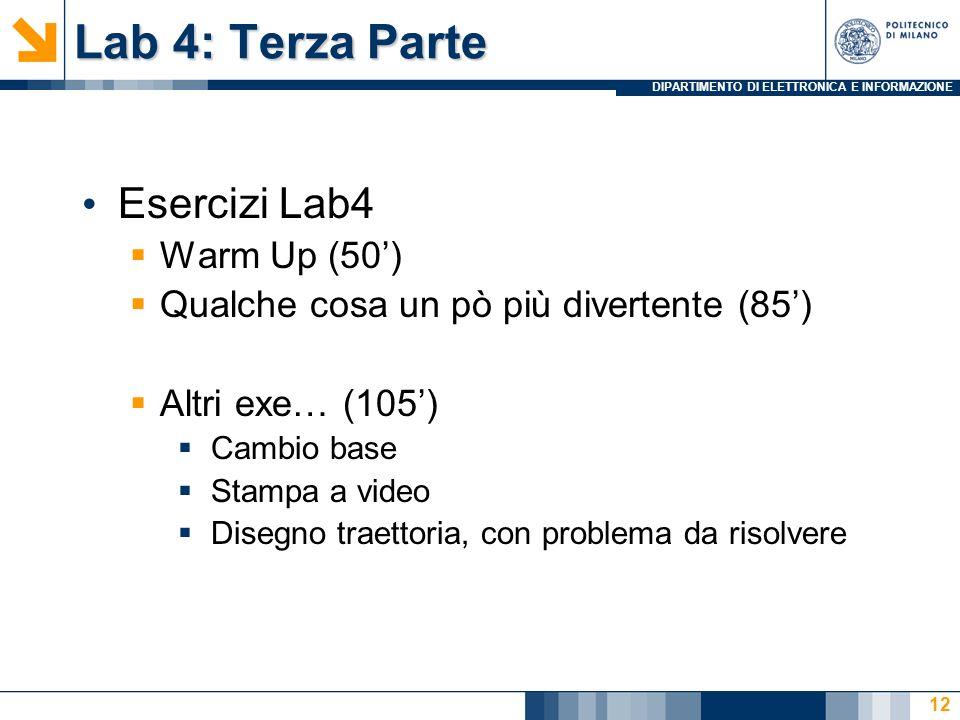 Lab 4: Terza Parte Esercizi Lab4 Warm Up (50')