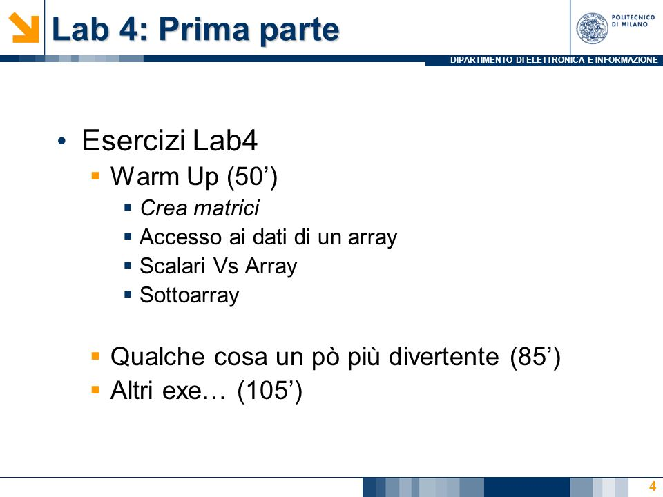 Lab 4: Prima parte Esercizi Lab4 Warm Up (50')
