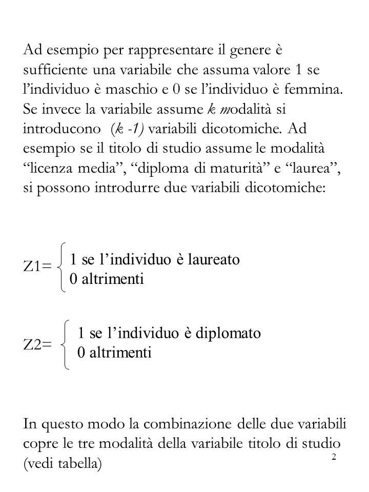 Ad esempio per rappresentare il genere è sufficiente una variabile che assuma valore 1 se l'individuo è maschio e 0 se l'individuo è femmina. Se invece la variabile assume k modalità si introducono (k -1) variabili dicotomiche. Ad esempio se il titolo di studio assume le modalità licenza media , diploma di maturità e laurea , si possono introdurre due variabili dicotomiche: