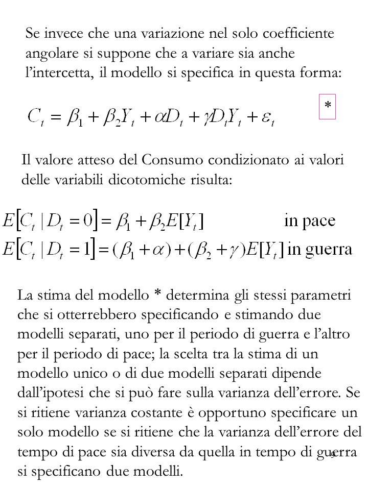 Se invece che una variazione nel solo coefficiente angolare si suppone che a variare sia anche l'intercetta, il modello si specifica in questa forma: