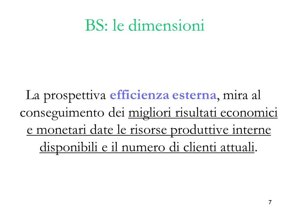 BS: le dimensioni