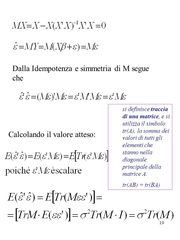 Dalla Idempotenza e simmetria di M segue che