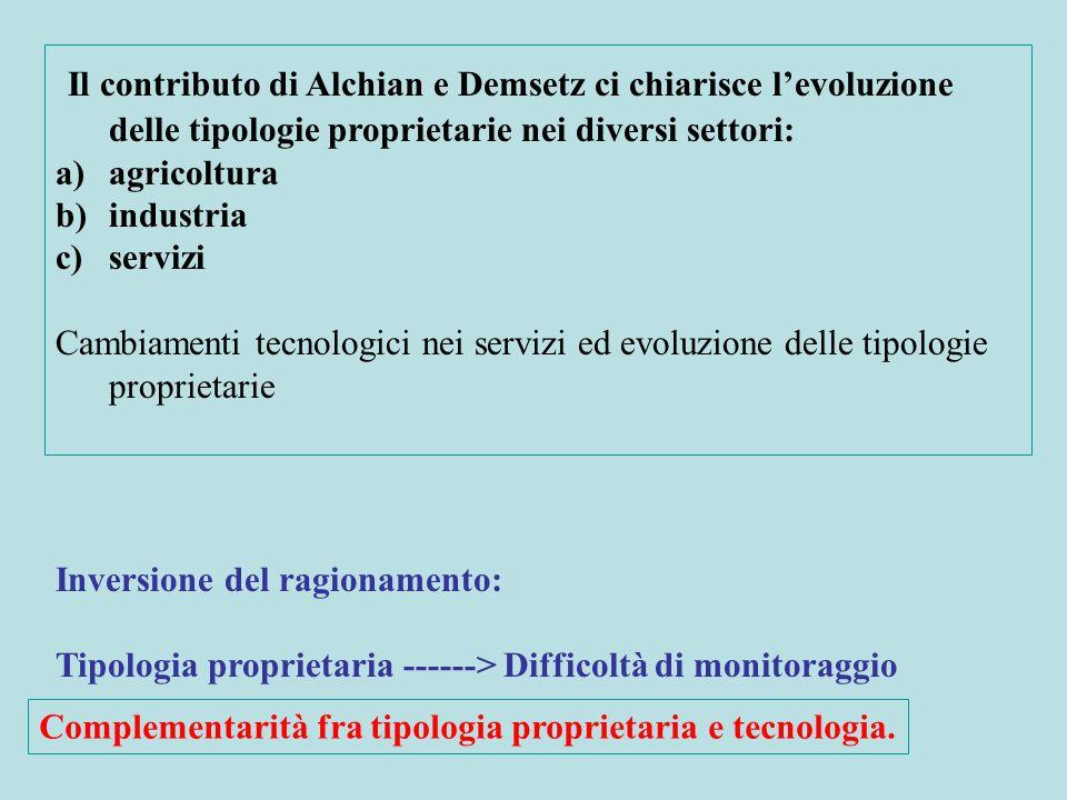 Il contributo di Alchian e Demsetz ci chiarisce l'evoluzione delle tipologie proprietarie nei diversi settori:
