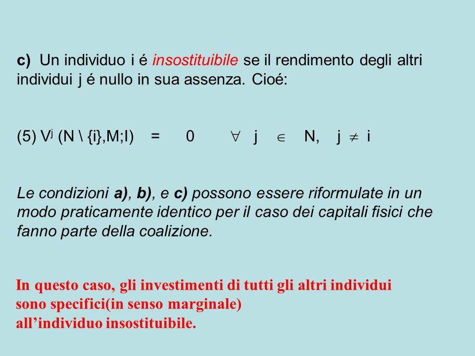 c) Un individuo i é insostituibile se il rendimento degli altri individui j é nullo in sua assenza. Cioé: