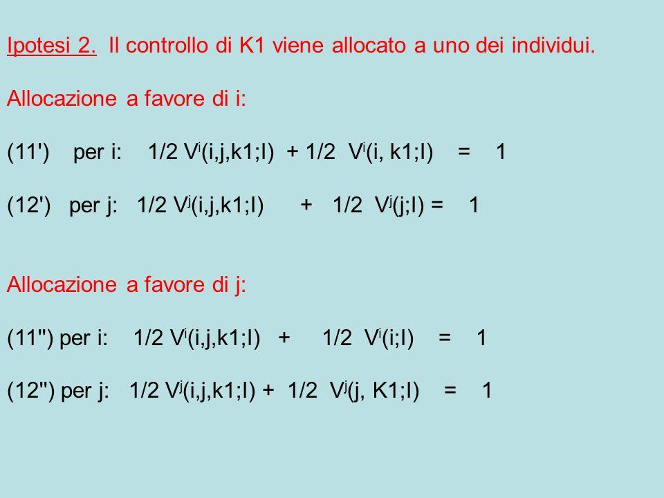 Ipotesi 2. Il controllo di K1 viene allocato a uno dei individui.