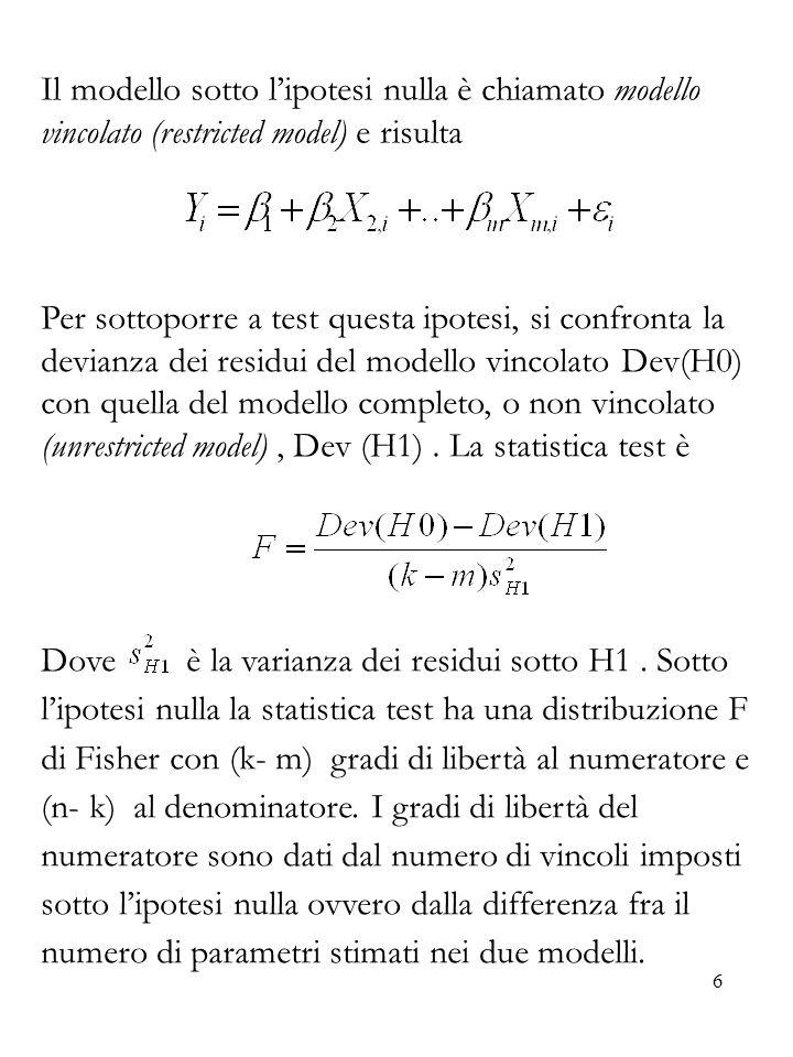 Il modello sotto l'ipotesi nulla è chiamato modello vincolato (restricted model) e risulta