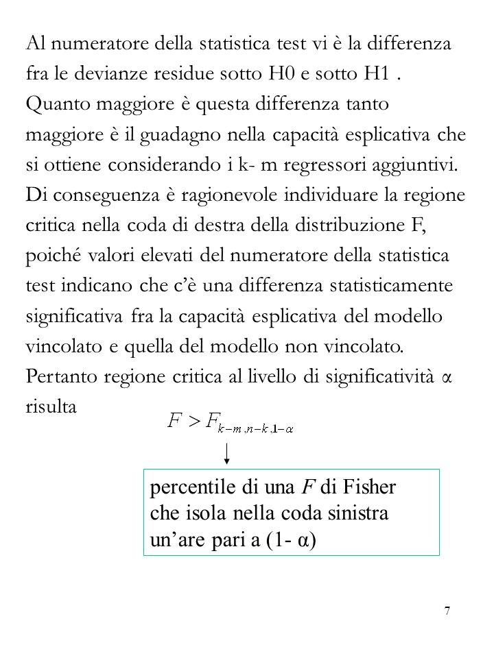 Al numeratore della statistica test vi è la differenza fra le devianze residue sotto H0 e sotto H1 . Quanto maggiore è questa differenza tanto