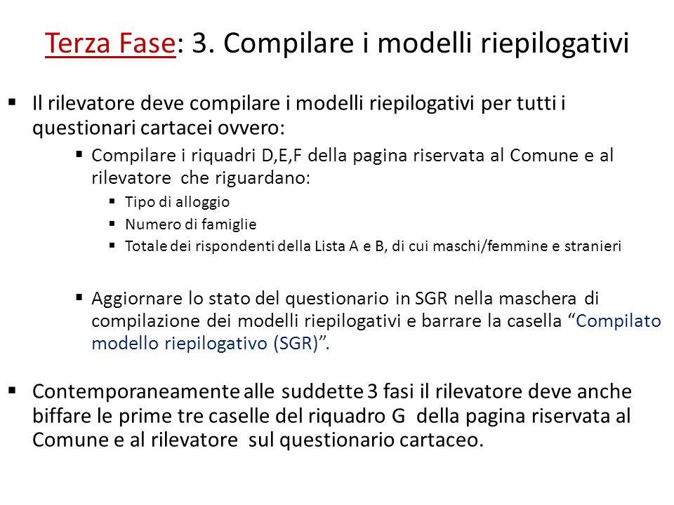 Terza Fase: 3. Compilare i modelli riepilogativi