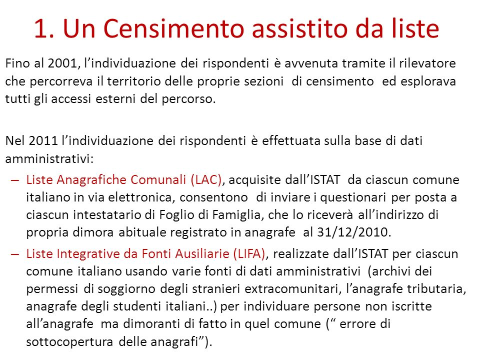1. Un Censimento assistito da liste