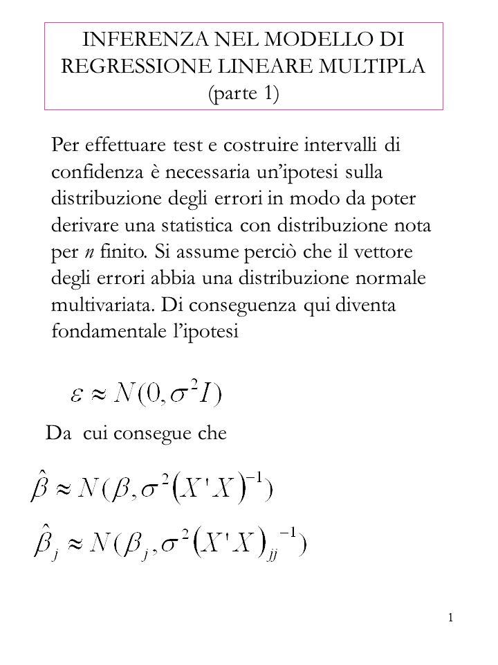 INFERENZA NEL MODELLO DI REGRESSIONE LINEARE MULTIPLA (parte 1)