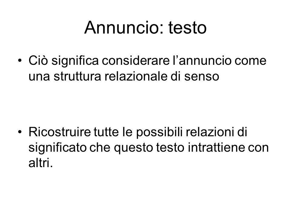 Annuncio: testo Ciò significa considerare l'annuncio come una struttura relazionale di senso.