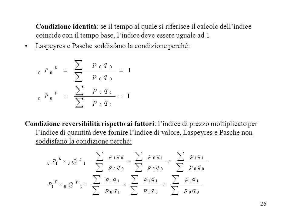 Condizione identità: se il tempo al quale si riferisce il calcolo dell'indice coincide con il tempo base, l'indice deve essere uguale ad 1